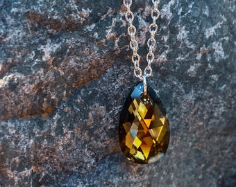 Golden Sahara Pendant Necklace | Swarovski Crystal (inspired by Dear Heart)