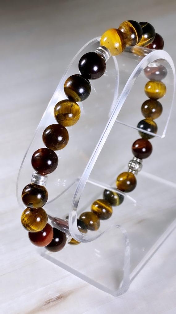 Multi-Color Tiger Eye Gemstone + Silver Bracelet (8mm)