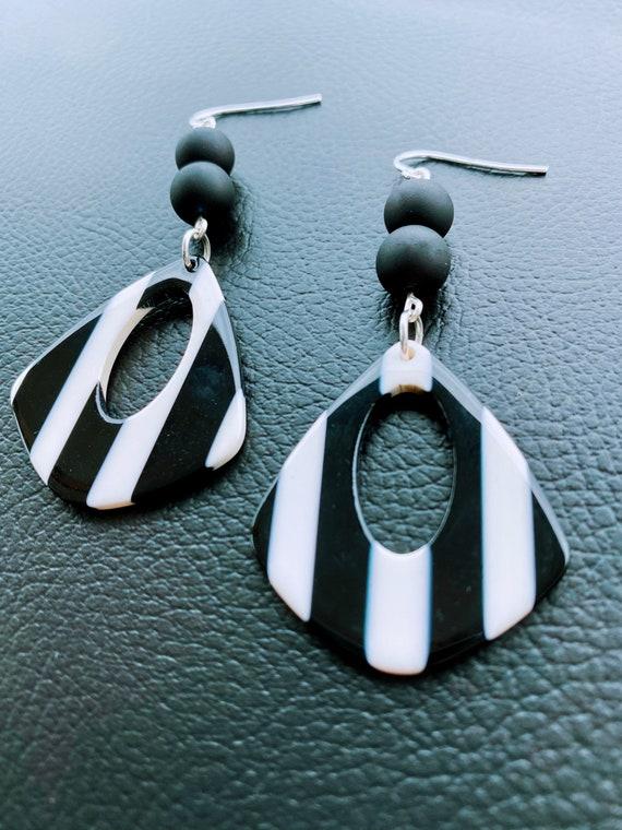 Black & White Stripe Acetate Drop Earrings