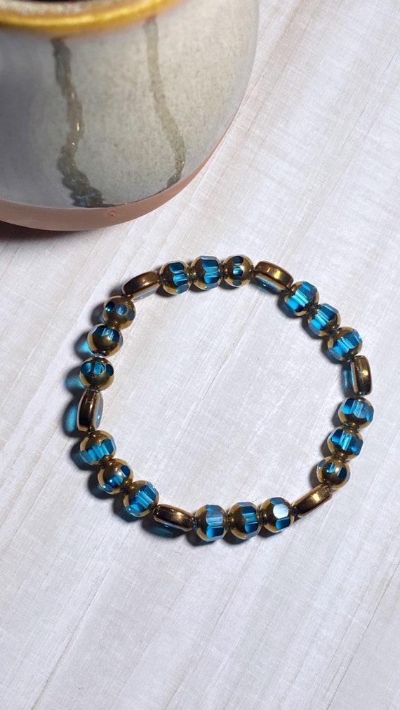 Aqua + Copper Glass Bracelet