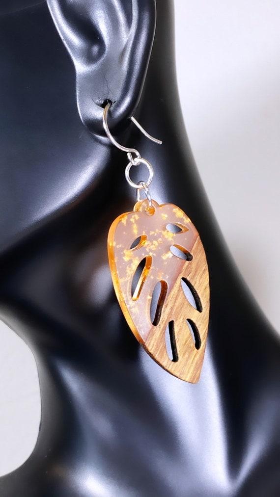 Wood + Peach Resin Leaf Pendant Earrings w/ Gold Foil