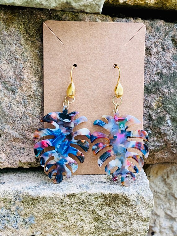 Tropical Leaf Pendant Earrings (with Drop French Hook Earwire)
