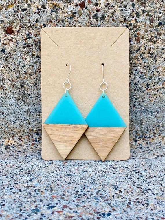 Wood & Turquoise Resin Diamond Earrings