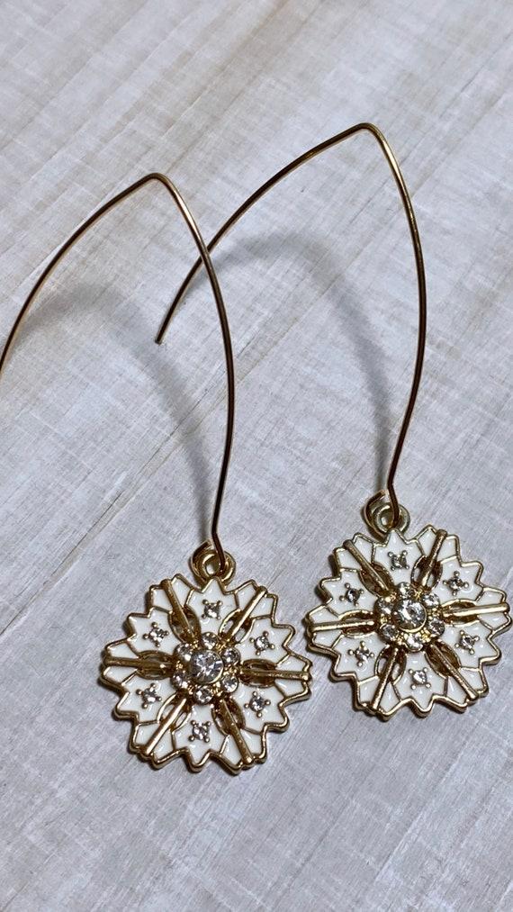 Gold + White Snowflake Gem Charm Dangle Earrings