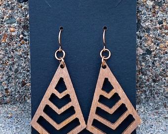 Wooden Triangle Fashion Earrings (inspired by Dear Heart)