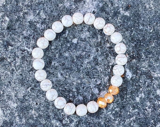 White Crackle Stone + Champagne Glass Bracelet (inspired by Dear Heart)