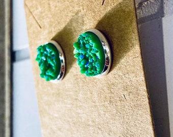 Green Druzy Stud Earrings (12mm)
