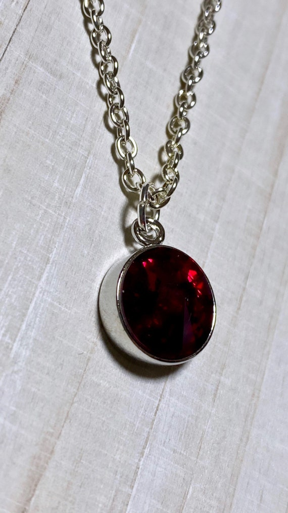 Deep Red Swarovski Crystal Charm Necklace | January Birthstone | Stunning | Lightweight | Classy Jewelry | Silver Necklace | Gift | Lovely