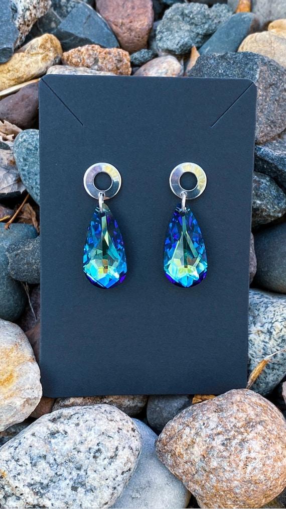 Bermuda Blue Teardrop Pendant Earrings | Swarovski Crystal