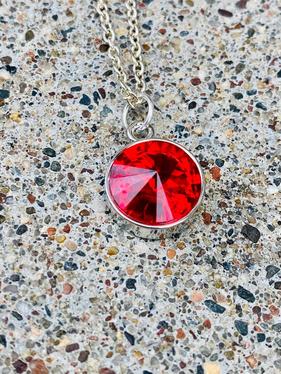 Ruby Red Crystal Necklace (July Birthstone)