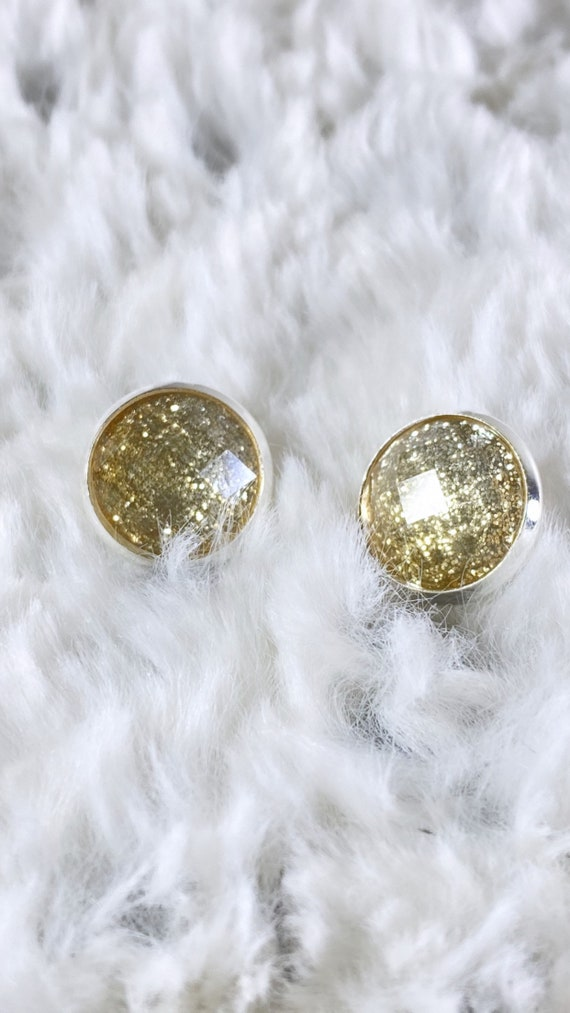 Gold + Silver Glitter Ombre Faceted Stud Earrings | Gold and Silver Studs Available