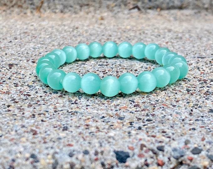 Aqua Cat Eye Glass Bracelets (Multiple Styles Available) (inspired by Dear Heart)