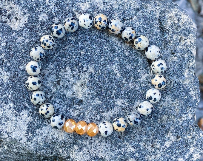 Dalmatian Jasper + Champagne Glass Bracelet (inspired by Lisa Michelle)