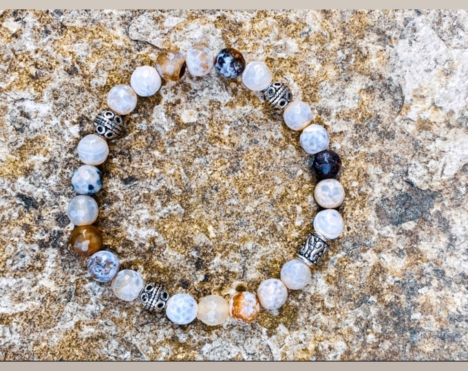Neutral Faceted Agate Stone Bracelet (inspired by Dear Heart)