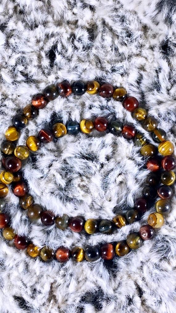 Multi-Color Tiger Eye Wrap Bracelet | 6mm Stone