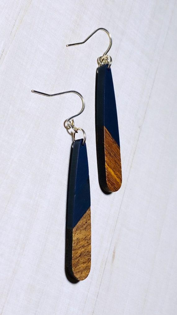 Navy Resin & Wood Long Drop Earrings