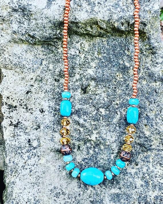 Turquoise Agate + Copper Beaded Bracelet