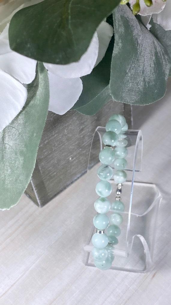Green Angelite Gemstone + Silver Bracelet (8mm)