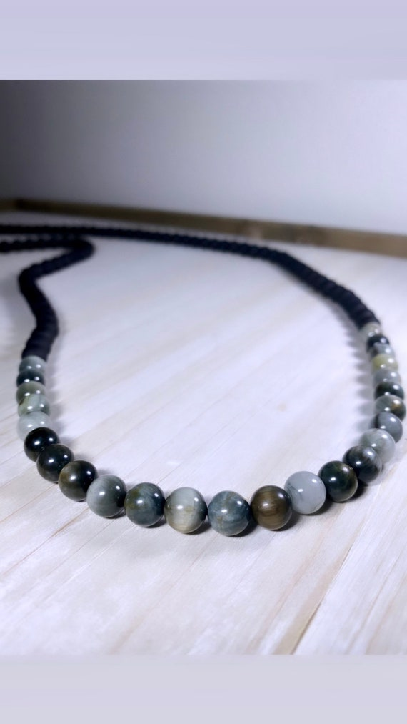 Long Hand Knotted Necklace with Matte Glass and Cat's Eye Stones