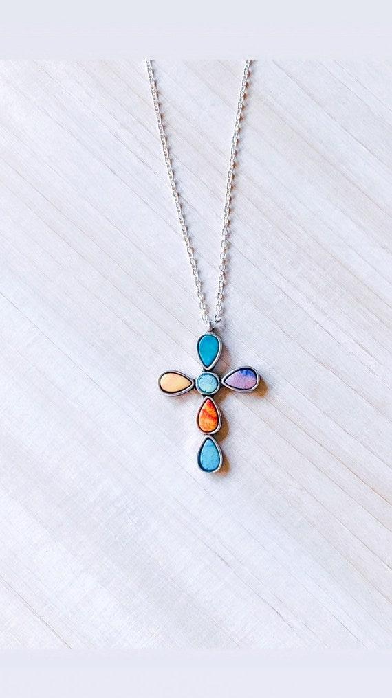 Multicolored Resin Cross Pendant Necklace