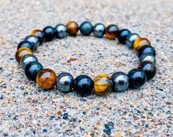 Tiger Eye + Obsidian + Hematite Stone Bracelet | Gemstone (inspired by Kelly)