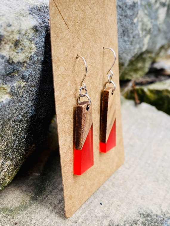 Wood & Pink Berry Resin Rectangle Earrings