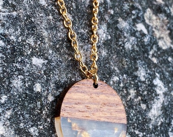 Wood & Clear Resin with Gold Foil Disc Necklace (inspired by Valerie)