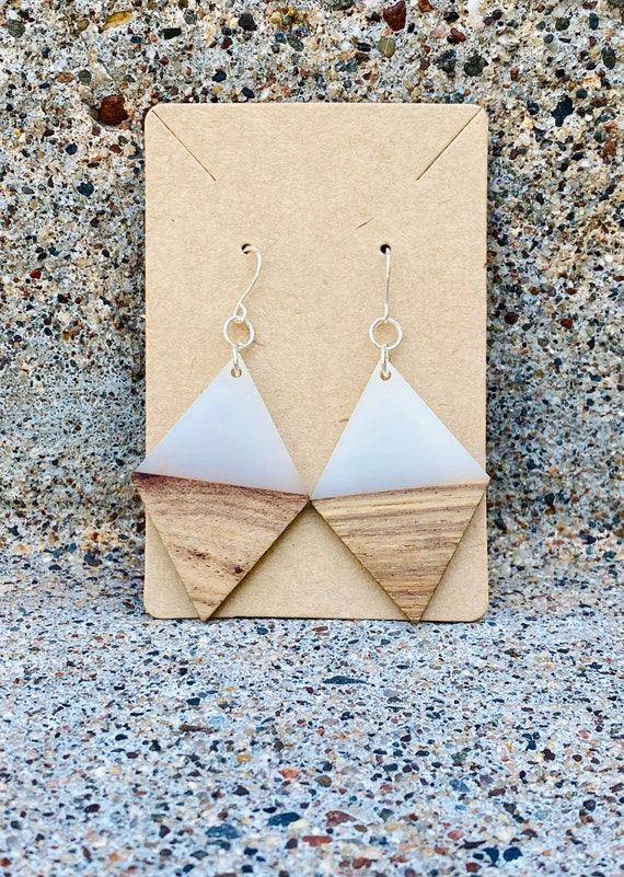 Wood & Cream Diamond Earrings