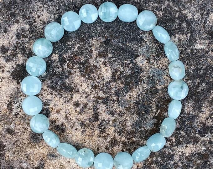 Green Angelite Faceted Flat Stone Bracelet (inspired by Dear Heart)
