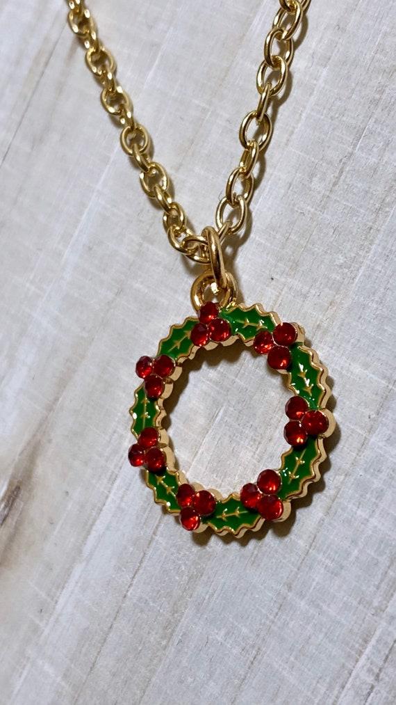 Christmas Wreath Crystal Charm Necklace