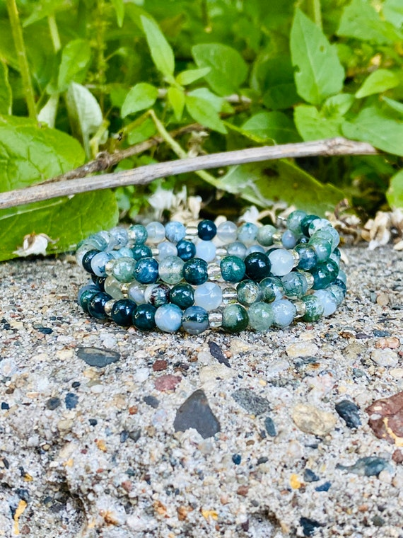 Green Fancy Jasper Stone Bracelet (Spiral Style)