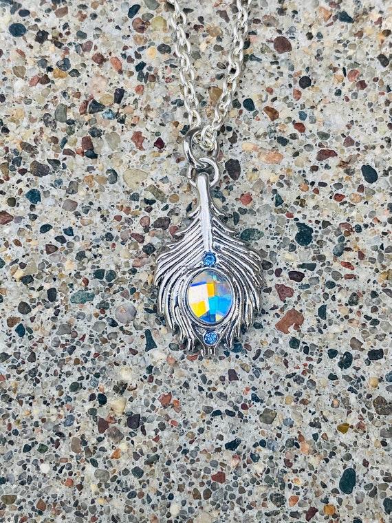 Peacock Feather Swarovski Crystal Necklace