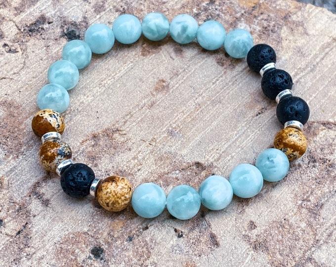 Green Angelite + Jasper + Lava Stone Bracelet   Perfect for Essential Oil absorption (inspired by Dear Heart)