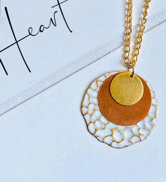 White + Copper + Gold Stacking Circle Pendant Necklace