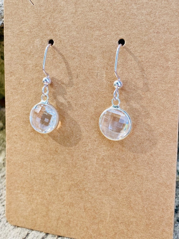 Clear Faceted Charm Earrings (10 mm)