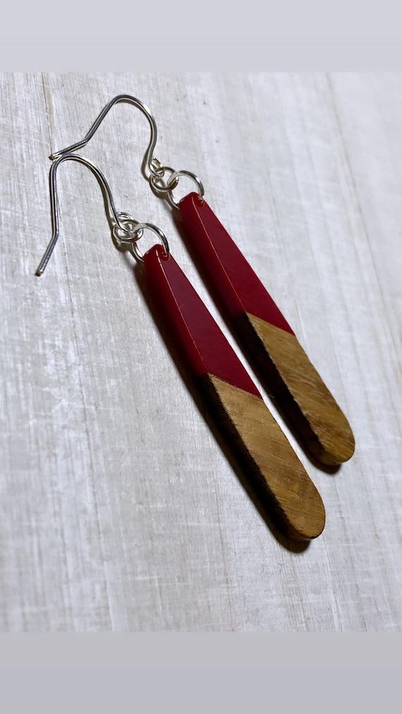 Deep Red Resin & Wood Long Drop Earrings