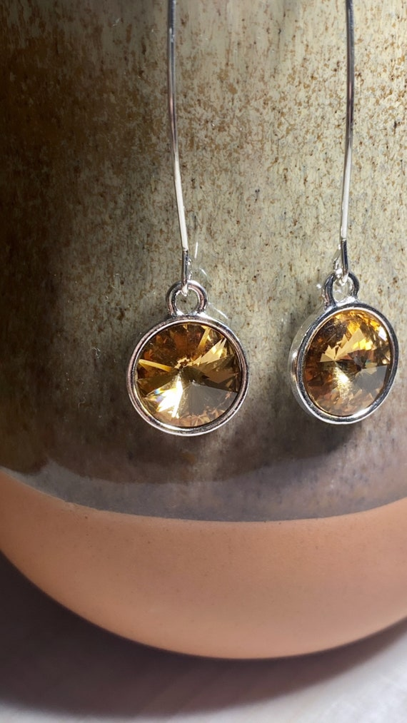 Light Colorado Topaz Swarovski Crystal Dangle Earrings