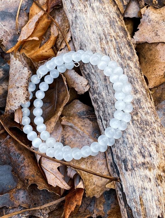 White Cat's Eye Glass Memory Wire Bracelet