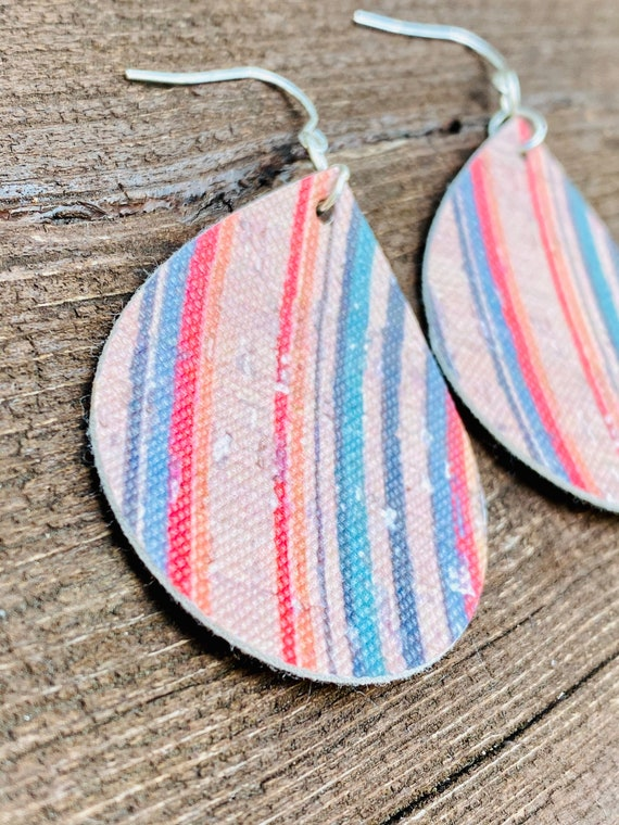 Colorful Cork Print Faux Leather Earrings