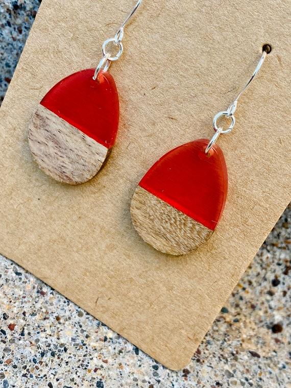 Wood & Pink Berry Resin Solid Drop Earrings