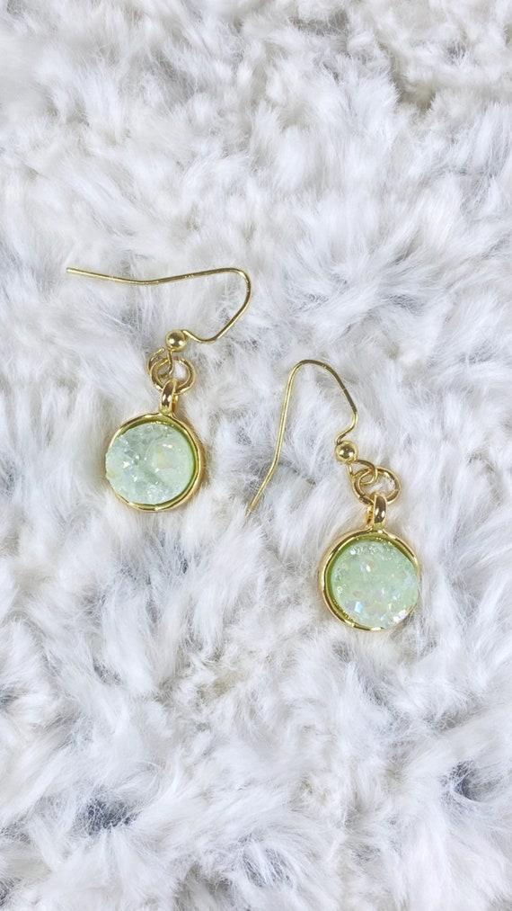 Mint Druzy Drop Earrings