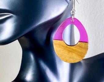 Wood & Fuchsia Resin Teardrop Earrings (inspired by Dear Heart)