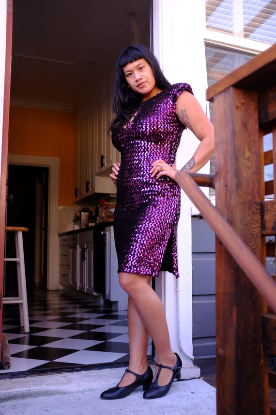 1980s Sexy Sequined Climax by David Howard Dress