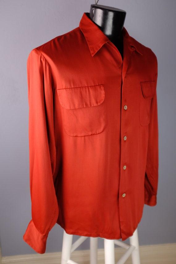 1940s/50s Burgundy Rayon Gabardine Shirt - L/XL