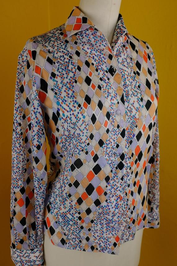 1960s Cotton Emilio Pucci Print Blouse - Medium