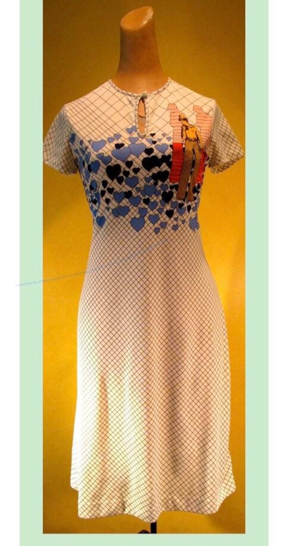1970s Gene Berk GBR Novelty Print Dress