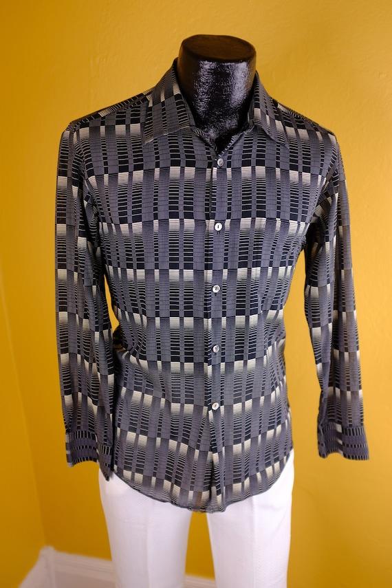 Captivating 1980s Sheer Cotton Print Shirt, small