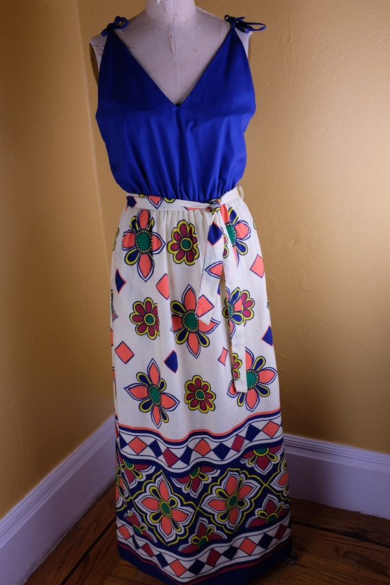 Bold and colorful 1960s/70s Maxi Sundress