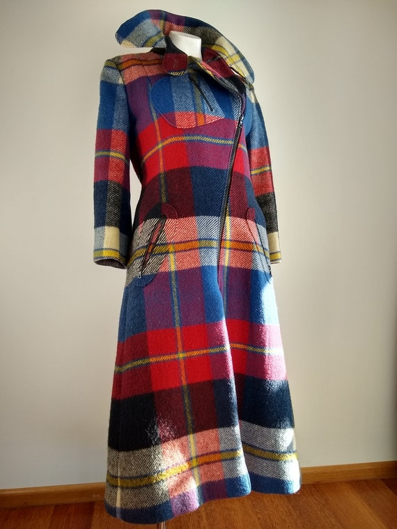 Early 1970s Daniel Hechter Paris Red Plaid Wool M… - image 1