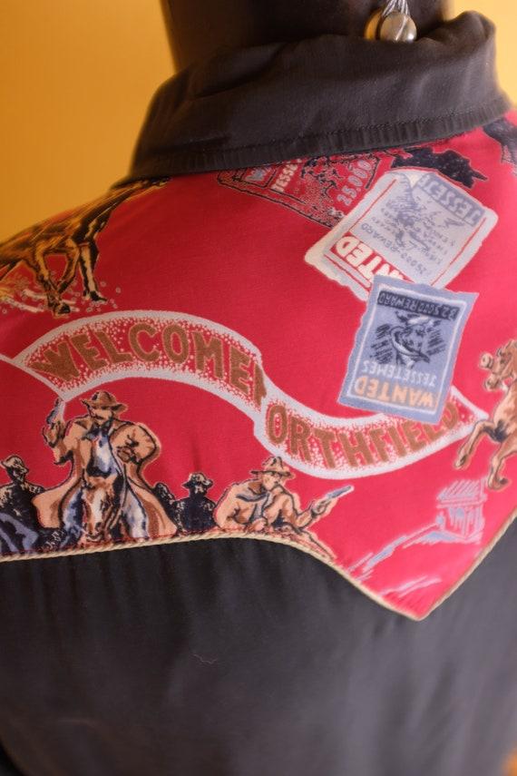 1950s/1960s Rayon Jesse James Themed Western Shirt - image 5